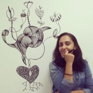 Pintura de mulher semente em parede de residência - Porto Alegre.
