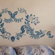 Pintura botânica em parede de residência - Porto Alegre-RS.