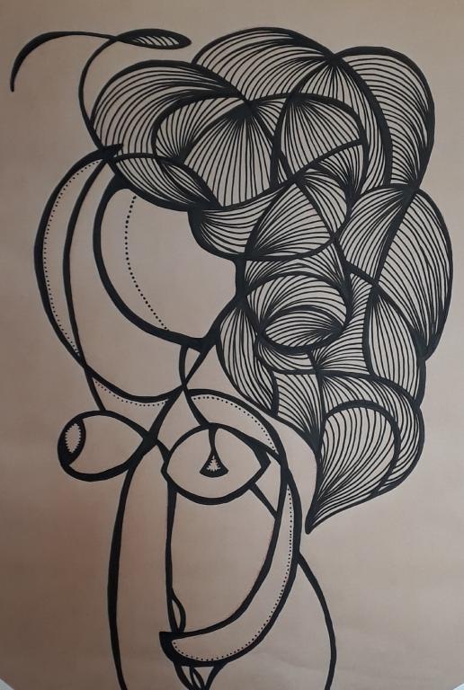 Mulher com asas invisíveis. Posca sobre papel kraft - 99 x 66 cm - 2018