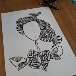 Que o teu coração seja uma semente alada guiada por bons ventos. Nanquim e marcador permanente sobre papel canson A3 - 2018